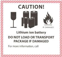 ION  Lithium Ion Battery Handling Label